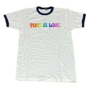 Tove Is Love Rainbow Pride LGBT White Ringer Tee